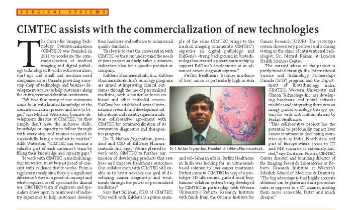 CIMTEC article in March 2014 edition of Canadian Healthcare Technology