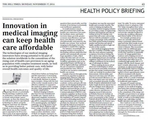 CIMTEC, Health Policy Briefing, Hill Times - medical imaging can keep healthcare affordable