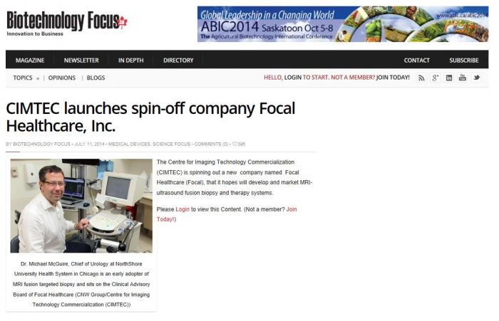 Biotechnology Focus covers CIMTEC spin-off, Focal Healthcare, Inc.